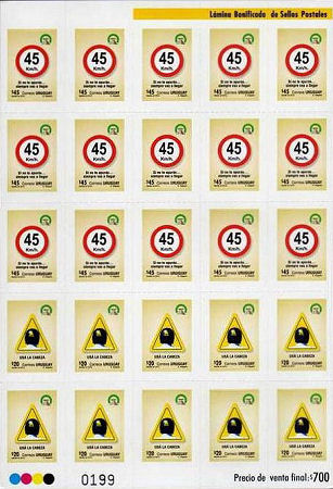 Stamp sheet Uruguay with theme traffic safety