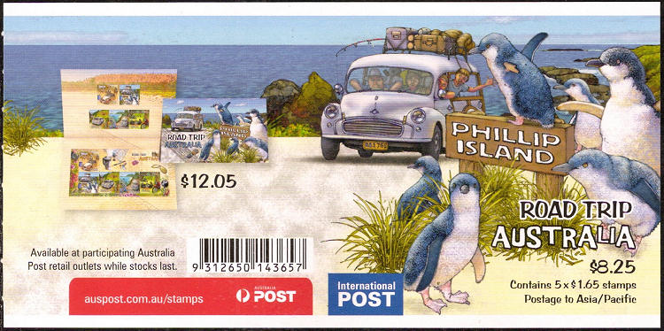 Backside of a sheet self-adhesive stamps Australia - Road trip